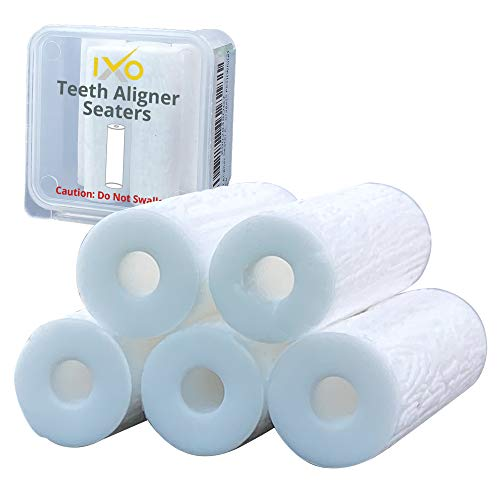 IXO Aligner Seater Chewies for Invisalign Aligners, Unscented, Free Carry Case for Travel and Storage (5 PCs) (White)