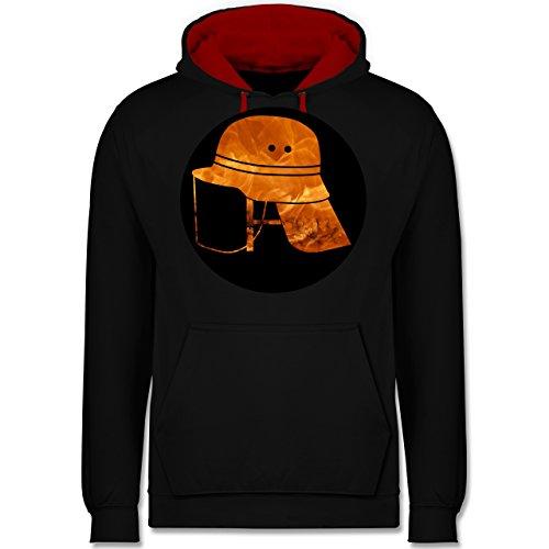 Shirtracer Feuerwehr - Feuerwehr Helm Flammen - 5XL - Schwarz/Rot - Firefighter Hoodie - JH003 - Hoodie zweifarbig und Kapuzenpullover für Herren und Damen