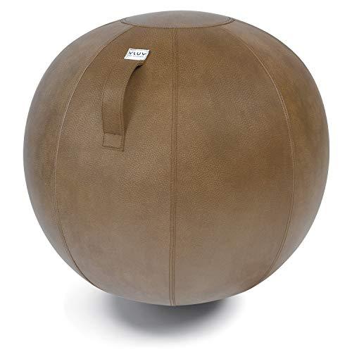 VLUV VEEL Sitzball, ergonomisches Sitzmöbel für Büro und Zuhause, Farbe: Cognac (rotbraun antik), Ø 70cm - 75cm, Bezug aus Mikrofaser-Kunstleder, robust und formstabil, mit Tragegriff