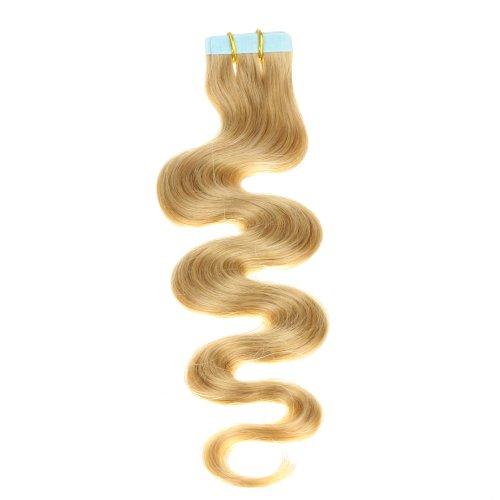 Just Beautiful Hair and Cosmetics Skin Weft Lot de 20 extensions avec bandes adhésives Cheveux Remy ondulés Mèches de 2,5 g 50 cm