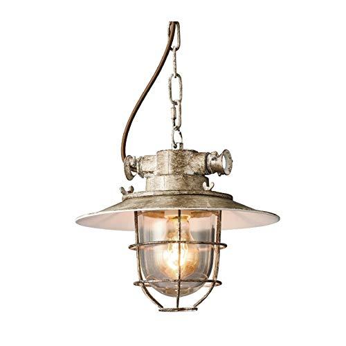 JUNJIJINGXIANG Lamparas Techo Colgantes Colgando Industrial Pendiente de la lámpara Sola Cabeza de la Vendimia Restaurante Loft iluminación Luz Comedor Bar (Color : Gray)