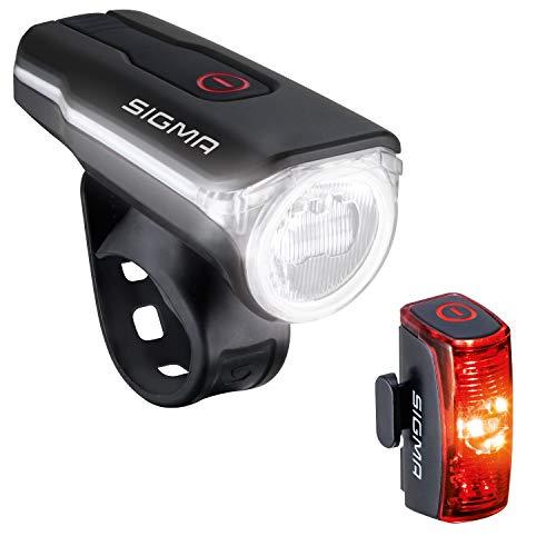 SIGMA SPORT - LED Fahrradlicht Set Aura 60 und Infinity | StVZO zugelassenes, akkubetriebenes Vorderlicht und Rücklicht