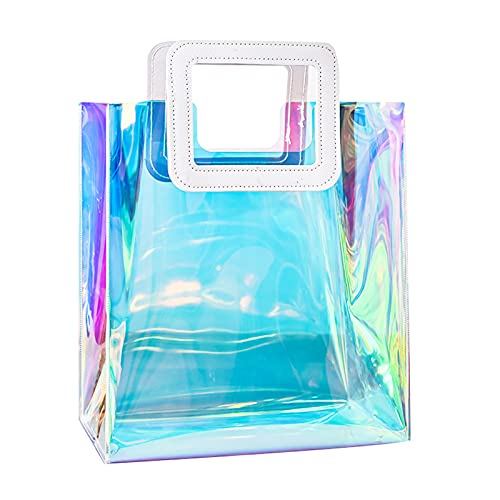 Holographic Clear Tote Bag, Women Fashion Iridescent Everyday Bag, Waterproof PVC Handbags for Work, Shopping, Beach, Stadium