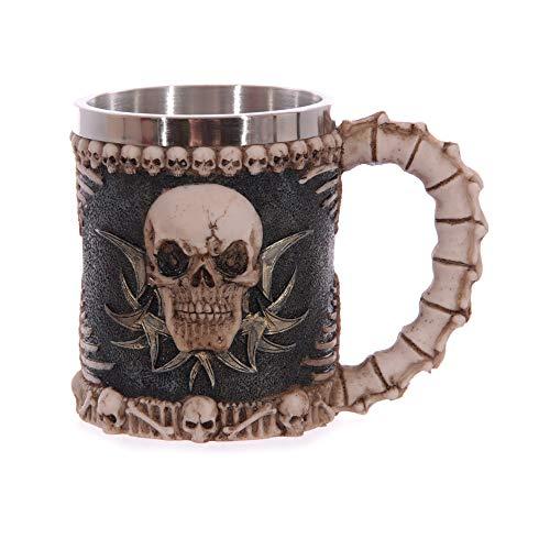 LUCKYGBY Edelstahl Doppelgriff Horn Totenkopf Bier Tassen,Gehörnten Krieger Schädel Becher, Mittelalterliche Schädel Drinkware Becher zum Kaffee/Getränke/Saft 400ml Tasse