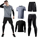 Holure Men's (Pack of 4) Athletic Shirt Compression Pants Shorts Gym Suits Gray