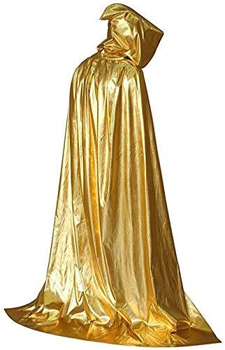 BOSSTER Capa con Capucha Oro Capa de Halloween Larga Capa de Vampiro Diablo con Capucha Atar para Víspera de Todos los Santos Fiesta de Disfraces Cosplay