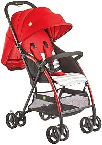 Cochecito de bebé ligero portátil liviano recién nacido carruaje de bebé cochecito de viaje ligero bebé cochecito cochecito buggy (Color : Red)