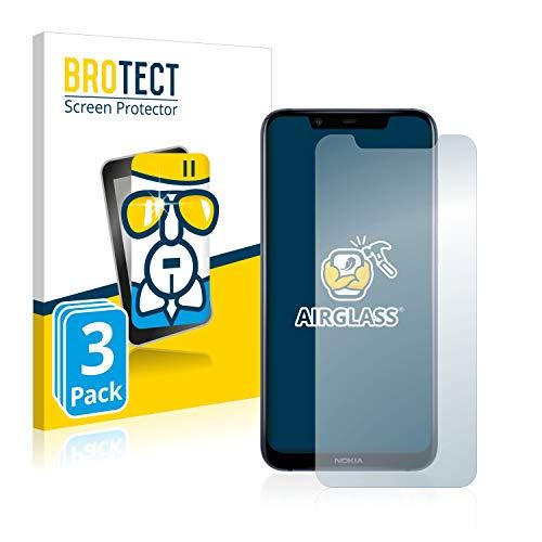 BROTECT Panzerglas Schutzfolie kompatibel mit Nokia 8.1 (3 Stück) - AirGlass, extrem Kratzfest, Anti-Fingerprint, Ultra-transparent