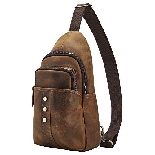 BRASS TACKS Leathercraft Borsa a tracolla da uomo in vera pelle, borsa a spalla, zaino impermeabile, borsa a tracolla da viaggio