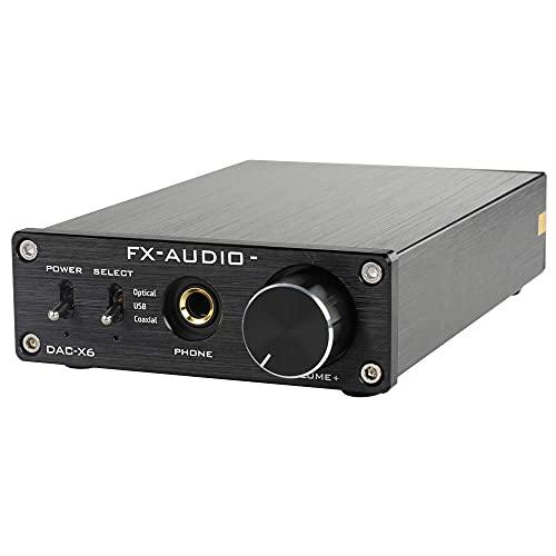 FX-Audio DAC-X6 Mini HiFi 2.0 Digital Audio Decoder DAC Input USB/Coaxial/Optical Output RCA/Headphone Amp 24Bit/96KHz DC12V (Black) (Renewed)