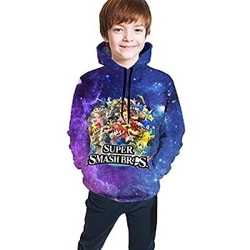 Super Sma-Sh Br-Os Teen Boys Girls Pocket Hooded 3d Printing Long Hood Sweat Shirt Casual Shirt Black