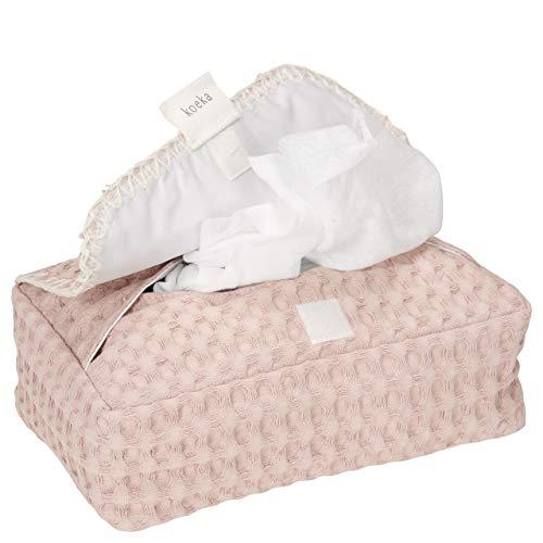 Koeka – Funda para toallitas húmedas para bebés Antwerp – Caja de toallitas húmedas – Rosa – 20 x 12 x 6 cm
