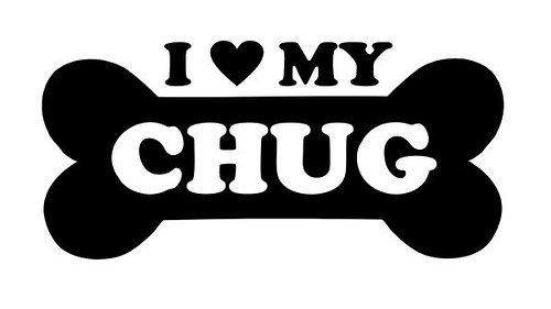 Pegatina de vinilo para mascotas con texto en inglés 'I Love My Chug Dog', color negro