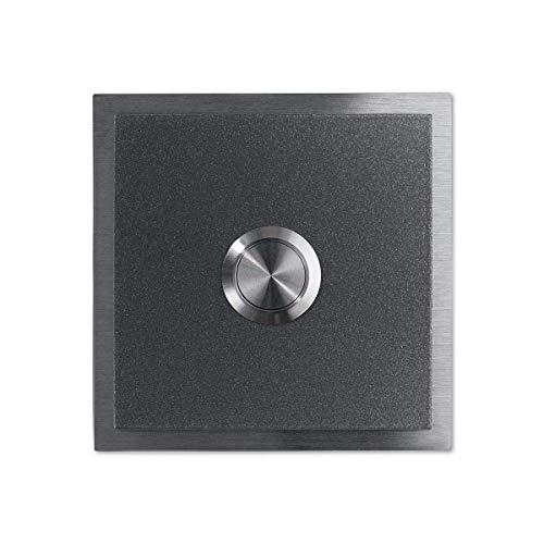 Metzler Türklingel - verschiedene RAL-Farben - Edelstahl-Klingeltaster –Edelstahl Klingelplatte - Farbe: Grau DB 703