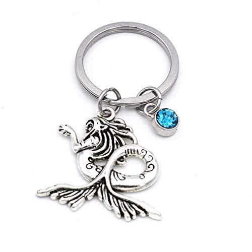 N/een prachtige strand zeemeermin met blauwe steen charme sleutelhanger doe-het-zelf handgemaakte sleutelhanger strand liefhebber sieraden geschenken