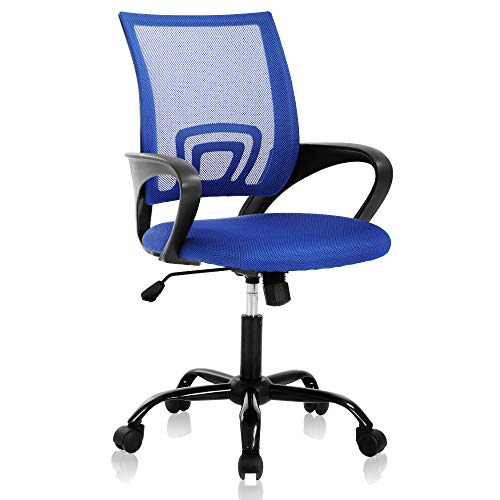 Home Office Chair Computer Chair Mesh Chair Mid Back Ergonomic Desk Chair with Lumbar Support Armrest?Breathable Mesh Height Adjustable Rolling Task Executive Office Chair, for Adults,Blue