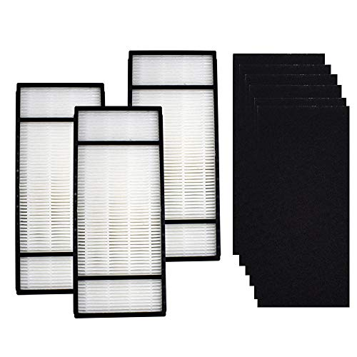 3 HEPA Replacement Filter & 6 Carbon Pre Filter H1 HRF-H2 Compatible with Honeywell H,HPA050, HPA150, HPA060, HPA160, HHT055, HHT155 Air Purifier