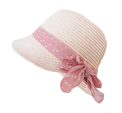 Sombrero Cloché Panamá Pamelas Paja para Bebé Niñas Rosa Bowknot Viaje Sombrero Verano,S