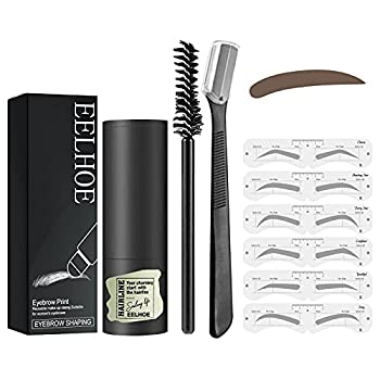 Eyebrow Stamp Kit One Step Eyebrow Stencil Kit Perfect Eyebrow Definer with Eyebrow Brush and Trimmer Easy to Use Reusable Waterproof  Dark Brown