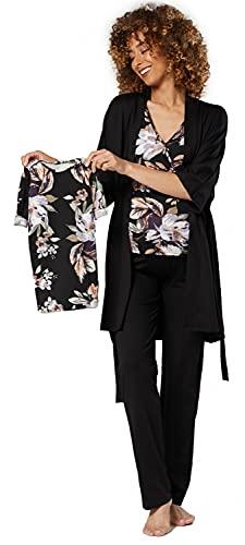 HAPPY MAMA Mujer Maternidad Conjunto Pijama Bebé Mamá Conjunto Juego 181p (Flores Negras y Negras, 36, S)