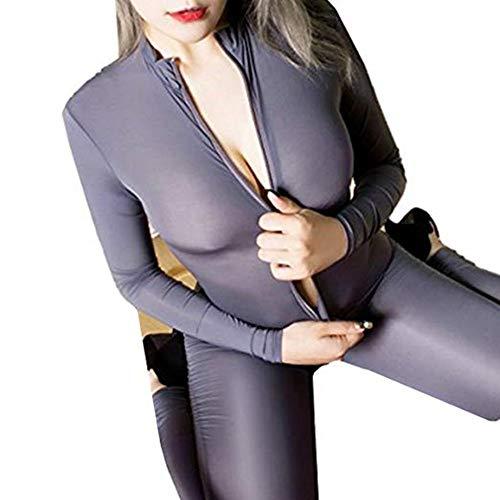 HNGPB Unitard Traje de una pieza para mujer de una pieza de cuerpo entero y traje de baile Unitard Body sexy con cremallera frontal Spandex Body Night Club Costume (I)