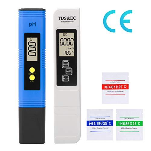 LAOYE PH messgerät TDS & EC Meter Digital Wasserqualitätstest Messgerät TDS PH EC Temperatur 4 in 1 Set, PH TDS EC Tester für Trinkwasser, Lebensmittel, Schwimmbäder, Thermen, Aquarien