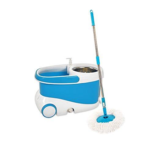 Bathla Ultra Clean Plus - Heavy Duty Microfiber Spin Mop with Large Trolley Wheels (Blue)