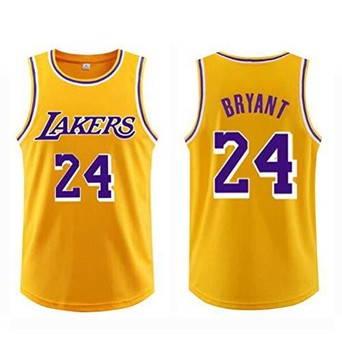 FSBYB Basketball-Trikots Westen, Lakers 24# Kobe Bryant Jersey-Tops Sport Ärmel T Shirts,Gelb,4XL
