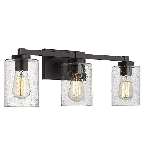 Beionxii Bathroom Vanity Lights, 3-Light Vintage Wall Sconce Light Fixtures, Oil Rubbed Bronze Finish with Clear Seeded Glass (24.5