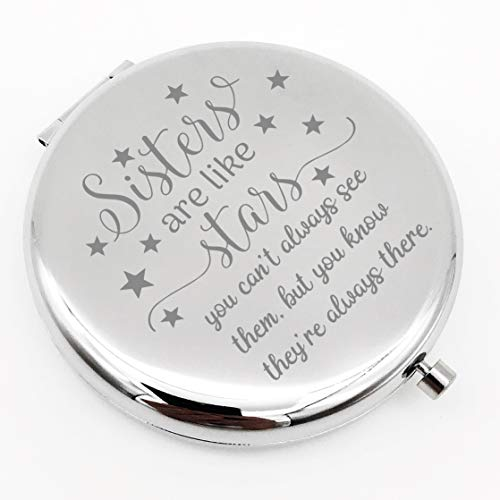 Warehouse No.9 Friendship Personalized Travel Pocket Compact Pocket Makeup Mirror Sister are Like Star Gift for Best Friend and Sister Graduation Christmas Birthday Gifts