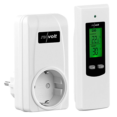 revolt Funkthermostat: Steckdosen-Thermostat mit mobiler Steuereinheit für Heiz- & Klimagerät (Temperaturschalter Steckdose)