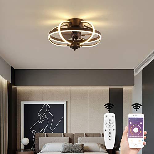 OUKANING Ventiladores de techo con luz LED de techo con iluminación,Ventilador de techo ultra silencioso de 36W,Ventilador invisible creativo,Lámpara de ventilador regulable con control remoto,Ø51cm