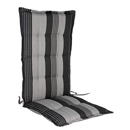 Polster Auflage für Hochlehner - Sitzkissen grau / schwarz - Gartenstuhlauflage Stuhlkissen