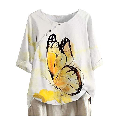 Blusa de lino para mujer, camiseta de verano, otoño, elegante, manga corta, cuello redondo, Blanco B, XL
