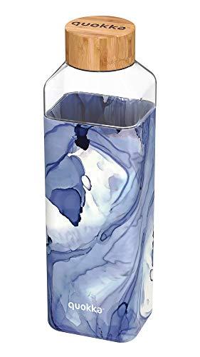 Quokka Storm - Liquid 700 ML | Botella De Agua Cuadrada De Cristal Sin BPA |Botella De Agua Reutilizable De Vidrio De Borosilicato con Funda De Silicona Y Tapón De Bambú