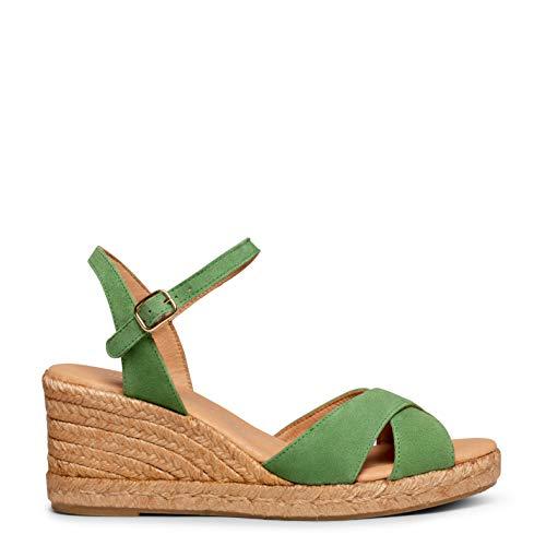 Zapatos miMaO. Sandalias de Esparto Hechas en España. Cuñas de Esparto Tiras Cruzadas Cómodas