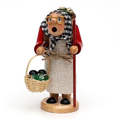 Wichtelstube-Kollektion Holz Räucherfrau Räuchermann Räuchermännchen Räucherfigur Waldfraa mit Juteschürze, braun 8 x 9 x 16 cm