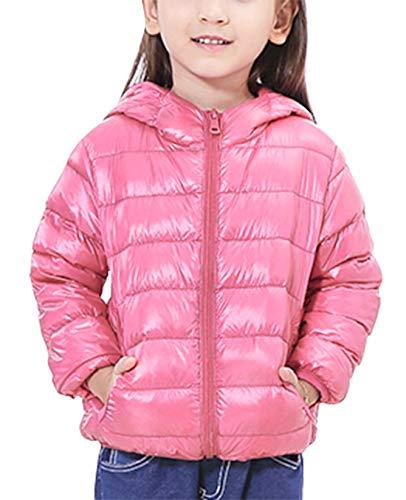 Happy Cherry Kinder Junge Mädchen Ultraleichte Daunenjacke mit Kapuze Unisex Kinder Winterjacke Herbst Winter Jacket Warme Steppjacke tragbar Daunenmantel in Rosa Größe 110 cm