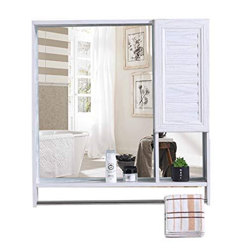 JUN Specchio da Parete HD Mobile da Bagno a Specchio Mobili per la casa Design Elegante e Decorativo Specchio Bianco a Parete Scomparti di archiviazione con portasciugamani Design Elegante