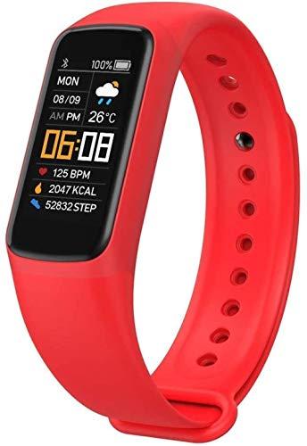 Reloj deportivo inteligente pulsera deportiva resistente al agua, cálculo de calorías inteligente, recordatorio de llamadas, adecuado para hombres y mujeres y niños, color rojo