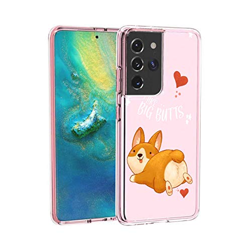 Clear Case for Samsung Galaxy S21 Ultra 5G Case,Customized Clear TPU Cover with Corgi Design Case Shockproof Slim All Inclusive Protective Phone Case for Samsung Galaxy S21 Ultra 5G