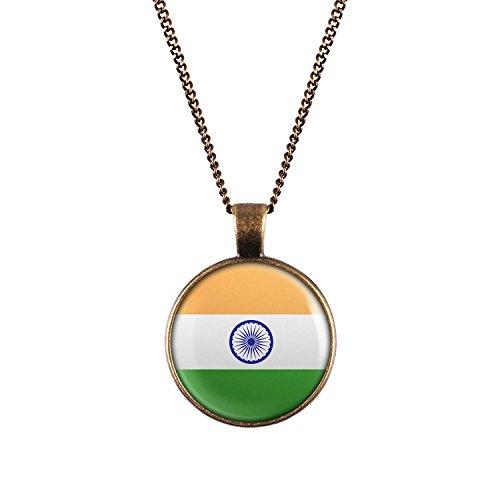 WeAreAwesome Indien Flagge Halskette - Länderkette mit Fahne Anhänger Unisex Kette