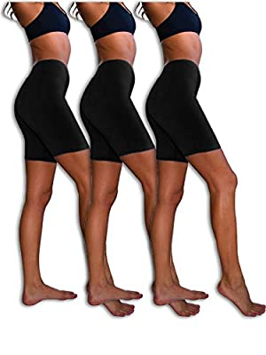 Sexy Basics Womens 3 Pack Sheer & Sexy Cotton Spandex Boyshort Yoga Bike Shorts (Large- 7, 3 PK BLACK)