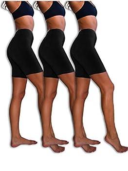 Sexy Basics Womens 3 Pack Sheer & Sexy Cotton Spandex Boyshort Yoga Bike Shorts  X-Large -8 3 PK BLACK