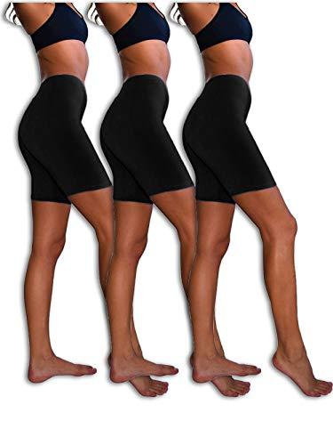 Sexy Basics Womens 3 Pack Sheer & Sexy Cotton Spandex Boyshort Yoga Bike Shorts (Large- 7, 3 PK BLACK)