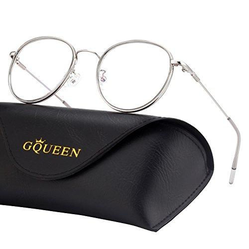 GQUEEN Blaulichtblockierende Computer Brille Gaming Besser Schlafen Antiblend Augenersch?pfung mit Rundem Kreis Metallrahmen Transparente Gl?ser Unisex GQ043