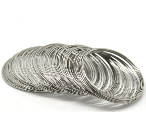 PEPPERLONELY Brand 200 Loop Silver Tone Memory Beading Wire for Bracelet 2-1/8 x 2-3/8 Inch (55MM-60MM)