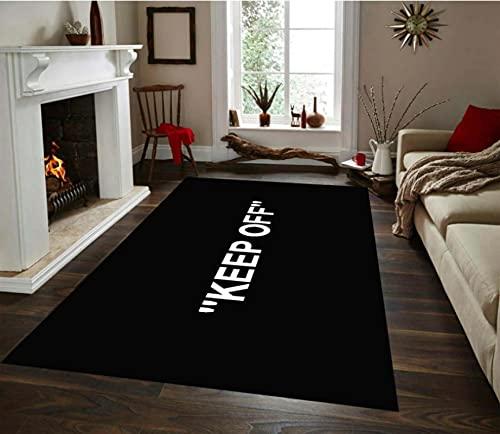 Haiqings Keep Off White and Black Patterned Rug Non-Slip Floor Mat,Kitchen Rug,Corridor Carpet, Modern Carpet 140x200cm