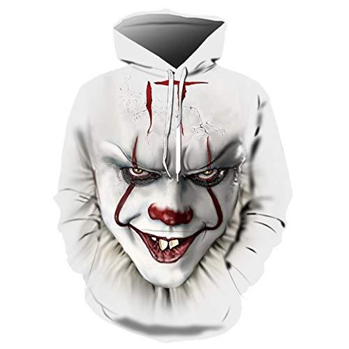 Hcxbb-16 Hauts-Clown imprimé 3D Halloween à Capuche Couleur Unie Hommes Femmes Freddy Jason Film Pull Clown Sweat à Capuche (Color : C, Size : 6XL)
