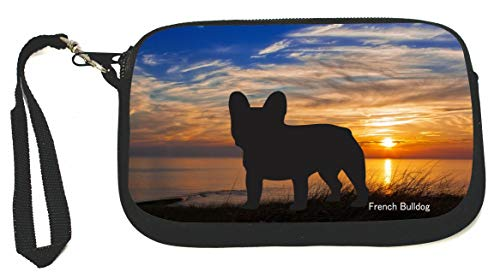 Blue Gold Sunset Sky with French Bulldog Silhouette Zipper Coin Purse - Wristlet - Camera Case - MP3 Case - Ideal for carrying Phone, Cash, Cosmetics, mp3 player, etc. etc.